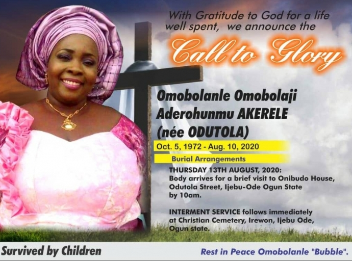 Adeola Odutola's daughter, Bolanle Bubble dies at 47